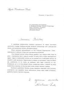 """List Pierwszej Damy douczestników Gali Finałowej 2. Międzynarodowego Festiwalu Muzycznego """"Ślimakowe Rytmy"""""""